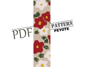 Flowers pattern, red FLOWER peyote, instant download, seed bead pattern, peyote design, peyote bracelet, summer bracelet, miyuki pattern