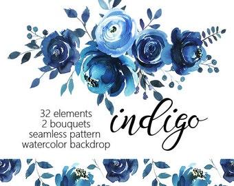 Indigo Watercolor Floral Design Collection  Digital Clipart PNG Blue Flowers Leaves Wedding Invitation DIY Clip Art Set Baby Shower Invite