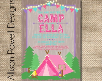 Girls Camping Glaming Birthday Invitation - Camping Party Invitation - Allison Powell Designs