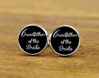 grandfather of the bride cuff links, grandfather cufflinks, custom name or date, wedding gifts, custom round or square cufflink & tie clip