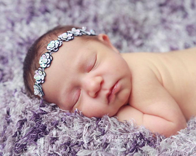 Mini Lavender Oyster Pearl Flower Sequin Halo Headband - boho sequins - perfect for newborns and for photo shoots by Lil Miss Sweet Pea