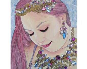 Bejeweled Beauties - Caitlin O'Sullivan - Mixed Media Art - ART PRINT - 8 x 10 - By Toronto Portrait Artist Malinda Prudhomme