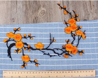 Orange Flower Patches. Iron On Patch for Jackets and Backpacks.Orange flower Patches.Orange Patches Embroidered Patches Patch Flower Bunch