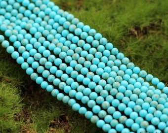 """Genuine Turquoise Beads, 3mm, Full Strand, Round Beads, AA Quality, Natural Turquoise Beads, Gemstone Beads, Natural Stone, 16"""" Jewelry Bead"""