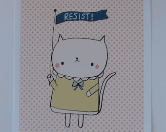 Resist Kitty Art Print