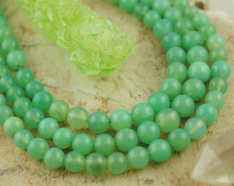 Mint : Green Chrysoprase Graduated Round Beads, Large Hole for 1mm Elastic, 5mm- 8mm, Natural Designer Quality Jewelry Making Supplies CY277