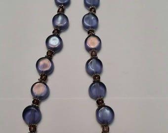 Purple and Indigo Purple glass beaded necklace