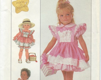 UNCUT Girl's Dress Sewing Pattern Simplicity 8526 Size 1/2-1 Summer, School Clothes, Spring, Ruffle Dress, Bloomers