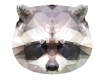 """Geometric Raccoon Watercolor Painting, 8X10"""" and 11X14"""" Instant Download, Ptintable, Animal Painting, Animal Art, Animal Print"""