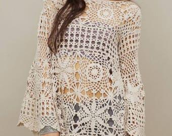 Off  White crochet tunic, crochet blouse, crochet tunic, crochet handmade, unique gifts, summer cotton tank top, beach accessories