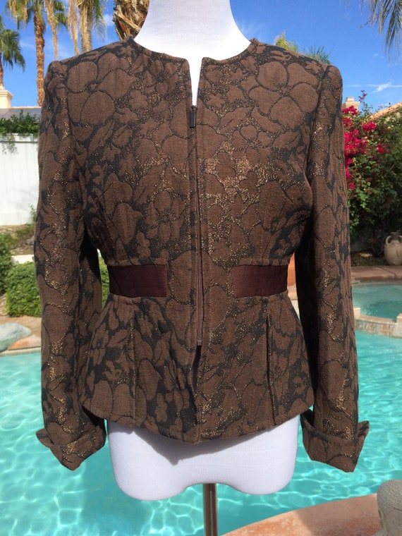 Albert Nipon Brown Brocade and Gold Metallic  Vintage90's Jacket,Size 8Petite.