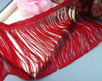 "3 yard 14cm 5.51"" wide red tassels fringe tapes lace trim ribbon md85jg free ship"
