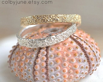 Sterling Silver Thin Coral Band  Stacking Ring   Nature Inspired Ring