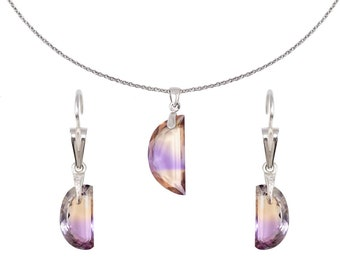 Sterling Silver Necklace with Ametrine pendant and Earrings