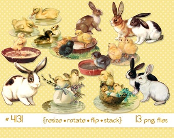 Digital Clipart, instant download, Vintage Easter clipart,  Bunnies, Easter Rabbits, bunny, ducks ducklings chicks, Clip Art--PNG files 4131