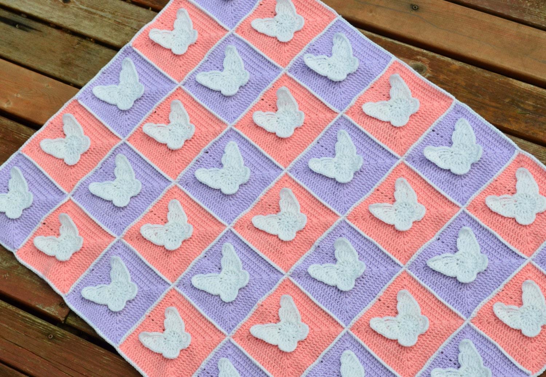 CROCHET PATTERN - pink and purple crochet butterfly blanket pattern ...
