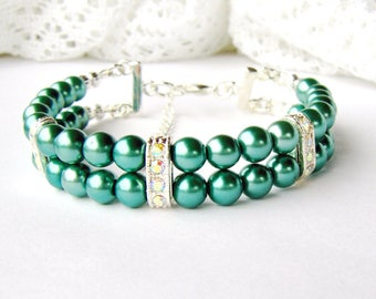 Teal double strand pearl bracelet / green pearl bracelet / rhinestone and pearl bracelet / bridesmaid jewelry / Mother's day gift / birthday
