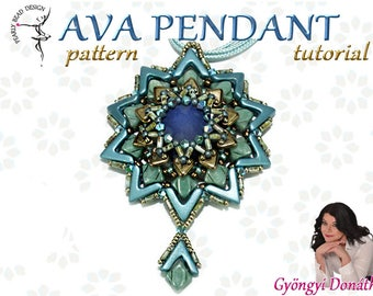 AVA Pendant pattern with AVA and Silky beads, DIY tutorial