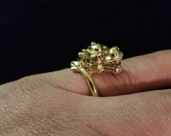 Hand Made Golden Dragon Ring 10 Karat Gold