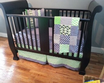Crib bedding set, navy blue and lime green, crib skirt, fitted sheet, patchwork baby blanket, pillow case cover