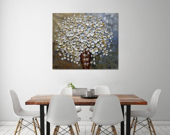 Hand-painted modern dining room kitchen home decor hanging wall art abstract white flower vase picture thick palette knife painting By Lisa