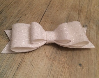 White, pink, wedding, christening, party, large over sized chunky glitter hair clip