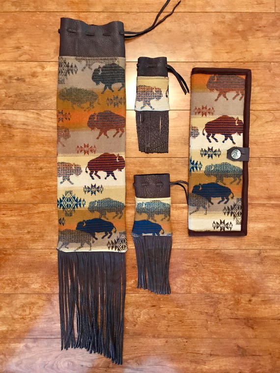 Made to Order - Fringed Pipe Bag Set with Matching Feather Holder Handcrafted Using Fabric from Pendleton Woolen Mill