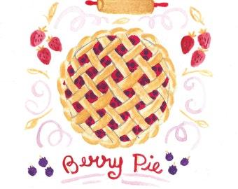 Fresh Berry Pie- Art Print 5x7, 8x10, 11x14