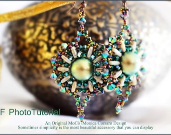 DIY Photo Tutorial Eng-ITA ,*Bahira* earrings ,PDF Pattern 78with quadratile,pearl, swarovski and seed beads,instructions,bead weaving