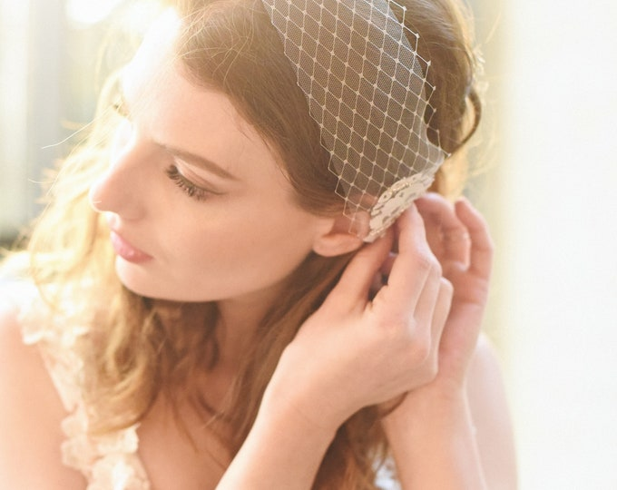 Bridal Birdcage Veil, Mini Bridal Veil, Lace Veil, Bandeau Veil, Wedding Veil, Bird Cage Veil, Short Bridal Veil, Style 314