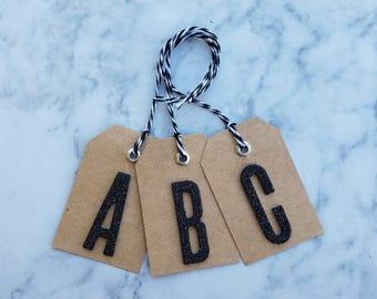 Black Glitter Letter Gift Tag (1ct)