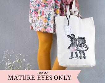 TOTE BAG coquin et customisé/ Sac  Illustration art/ Lapin et Chat/ sac d'un brin décalé / idée cadeau originale/ illustration originale