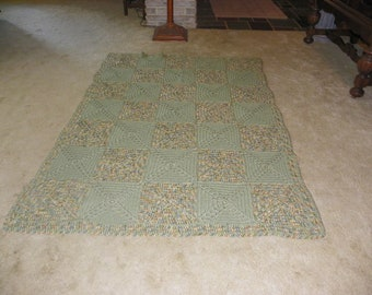 Sage and confetti afghan or blanket