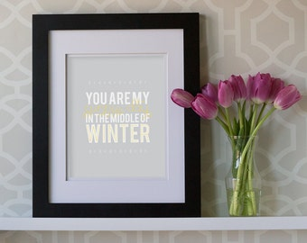 8x10 Print- You Are My Sunny Day In The Middle Of Winter **DIGITAL DOWNLOAD**
