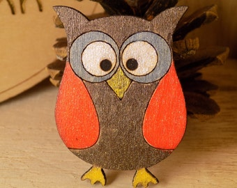 Handpainted owl Brooch