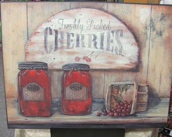 Cherry Kitchen,Primitive Kitchen Wall Decor,Country Kitchen Wall Decor,Mason Jars,Cherry Jam,Wooden Art Sign,Pam Britton ,12x16