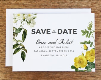 Printable Save the Date Card - Save the Date Template - Instant Download - Save the Date PDF - Vintage Roses Save the Date - Yellow & White