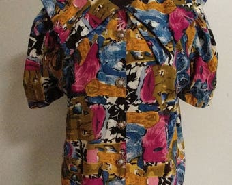 Lively Colorful Abstract Design Blouse Puff Short Sleeve Double Layer Wide Sailor Collar Multicolor Modern Art Print Ladies Shirt Office EUC