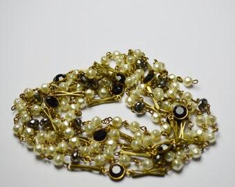 6 FEET Signature Chain Baroque Pearls Black Bezel Connecters Pyrite Gemstones PRT 010