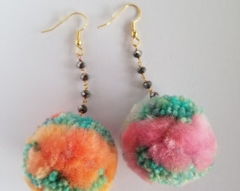 Pom Pom Earrings with Pyrite Chain