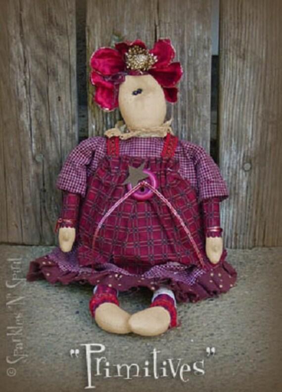 "Pattern: Scarlette - 14"" Flower Prim Rag Doll"