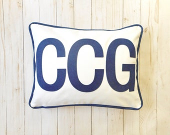 Custom Monogram Pillow Cover, 3 initials, Block Letters, 2 sizes available fit a 12 x 16 insert or standard bed pillow (20 x 26)