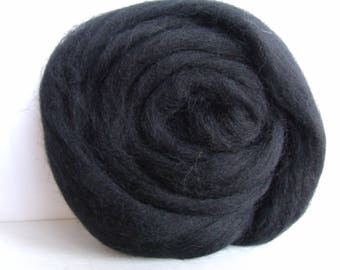 25g wool felting or spinning Merino carded worsted black