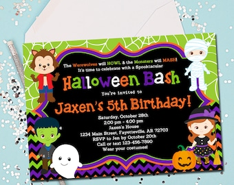 HALLOWEEN BIRTHDAY INVITATION, Halloween, Halloween Invitation, Costume Party, Birthday, Birthday Invitation, Printable 5x7