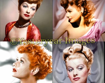 Vintage LUCILLE BALL Photos - Printable Digital Images - Collage Sheets - Instant Download - 3 PNG Files 4x4. 2x2. 1x1