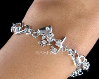 Swarovski Crystal WESTIE SCOTTISH Scottie DOG Terrier Puppy Pet Heart Lover Chain Link Bracelet Jewelry Christmas Best Friend Birthday Gift