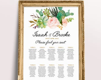PRINTABLE Wedding Seating Chart  printable wedding seating chart, seating arrangements, Personalized seating table plan, Blush Rose and mint