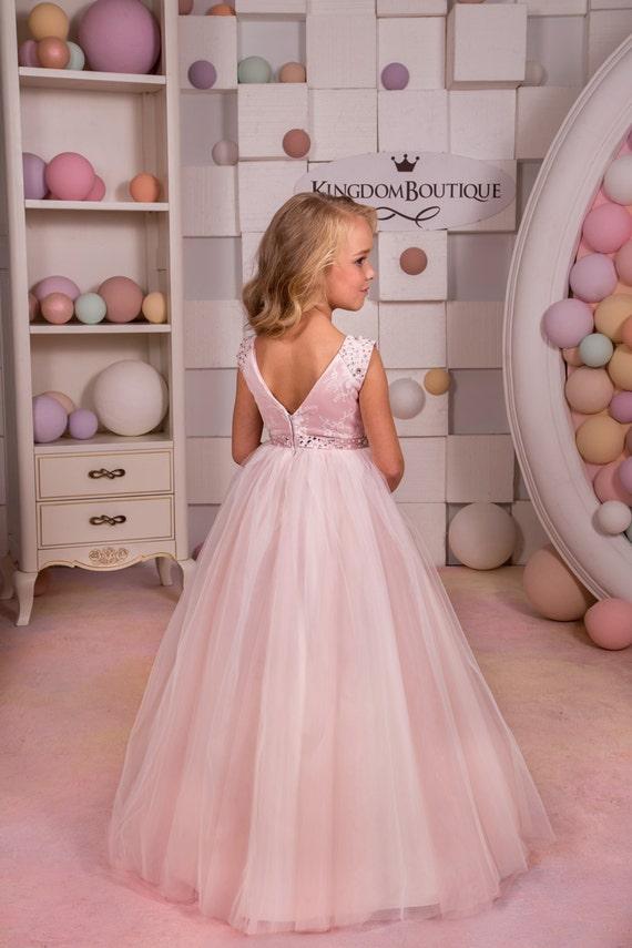 Blush color rosa de encaje y tul-boda de Dama de honor fiesta