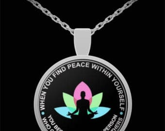 Peace Necklace- Lotus Flower Necklace-Yoga Necklace-Pendant Necklace-Gift for Women-Christmas Gift Women-Birthday Gift For Her-Holiday Gifts