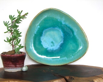 Vintage Handmade Pottery 'Ocean' Platter w Snowflake Glaze Detail - Clay, Earthenware